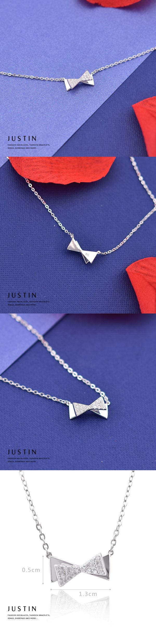 Justin金緻品 晶鑽福蝶結 925純銀套鍊 非鍍銀 抗過敏 蝴蝶結造型
