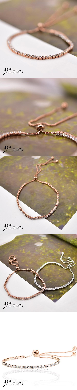 Justin金緻品 時尚專屬 純銀手鍊 925純銀 抗過敏 非鍍銀 鋯石 玫瑰金 簡約款